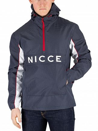 Nicce London Navy Reflective Check Henley Jacket