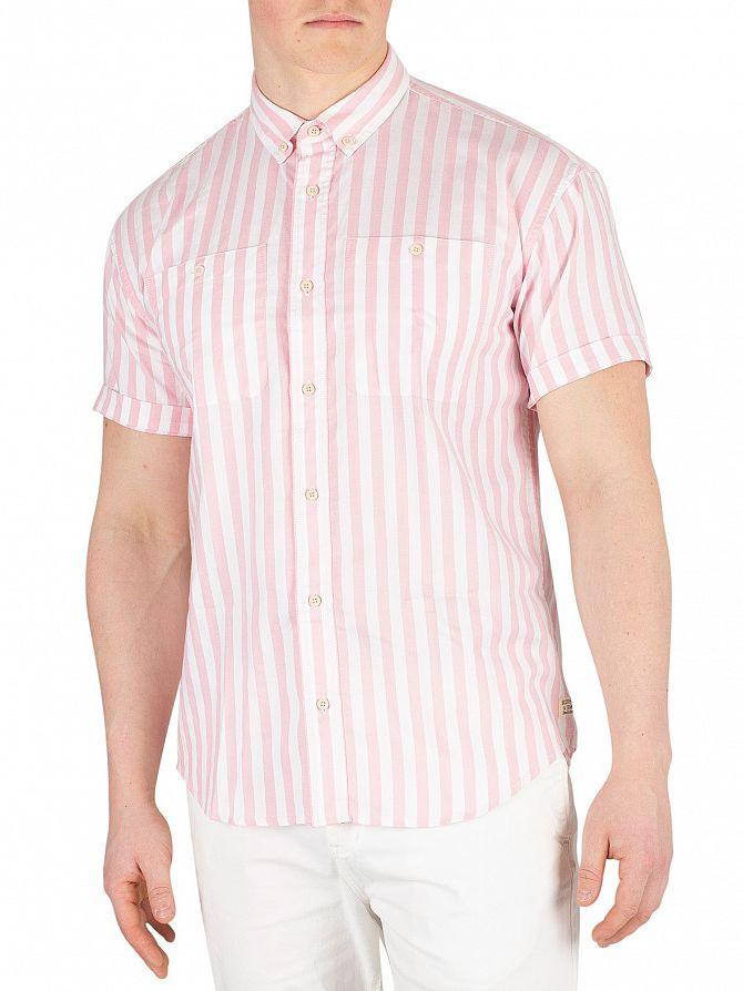 Scotch & Soda Pink/White Shortsleeved Stripe Shirt