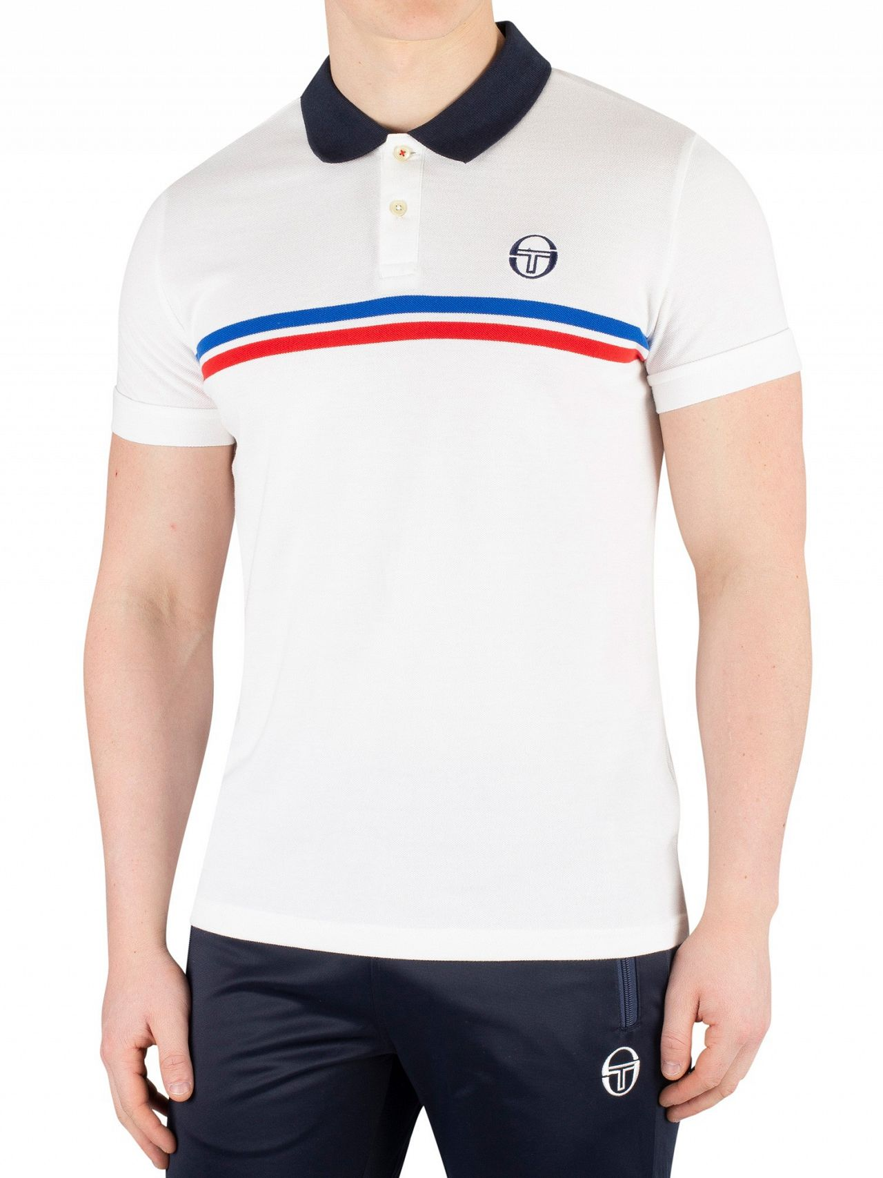 05d54690 Sergio Tacchini White/Royal/Vintage Red Supermac Poloshirt | Standout