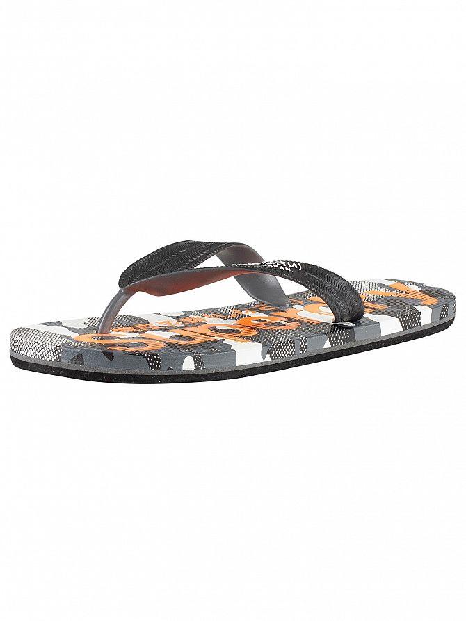 Superdry Black/Hazard Orange/Textured Camo AOP Flip Flops