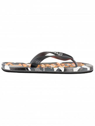 Superdry Black/Hazard Orange/Textured Camo AOP Flip Flops