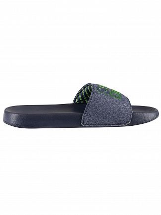 Superdry Navy/Navy Grit/Fluro Lime Lineman Pool Slider