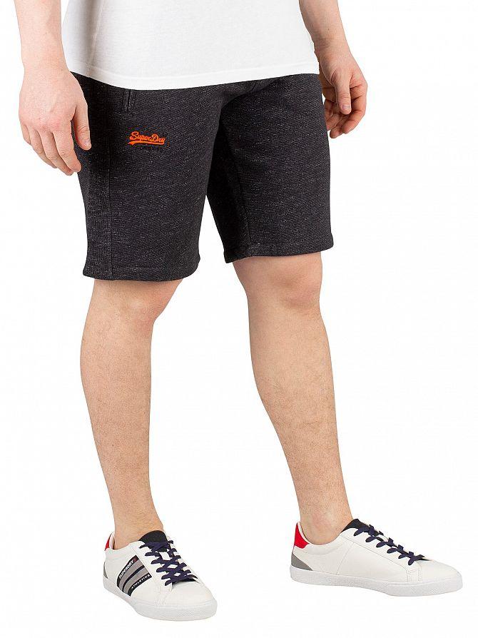Superdry Black Carbon Feeder Orange Label Cali Sweatshorts