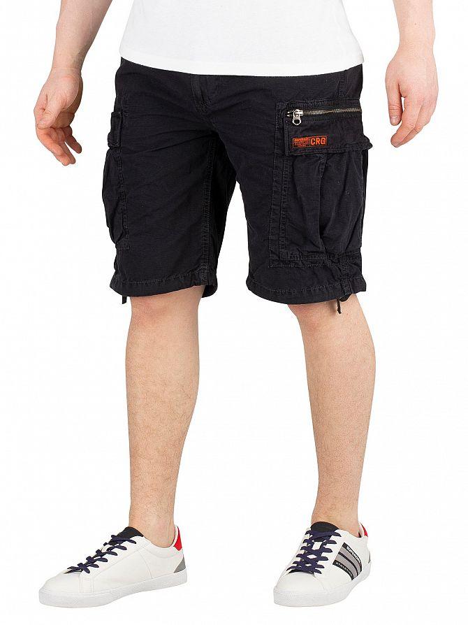 Superdry Washed Black Parachute Cargo Shorts