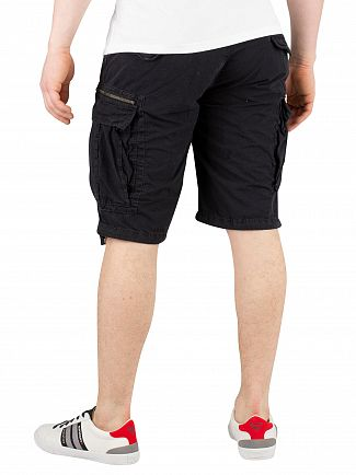 Superdry Washed Black Parachute Cargo Shorts