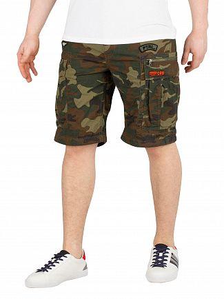 Superdry Olive Alpine Camo Parachute Cargo Shorts
