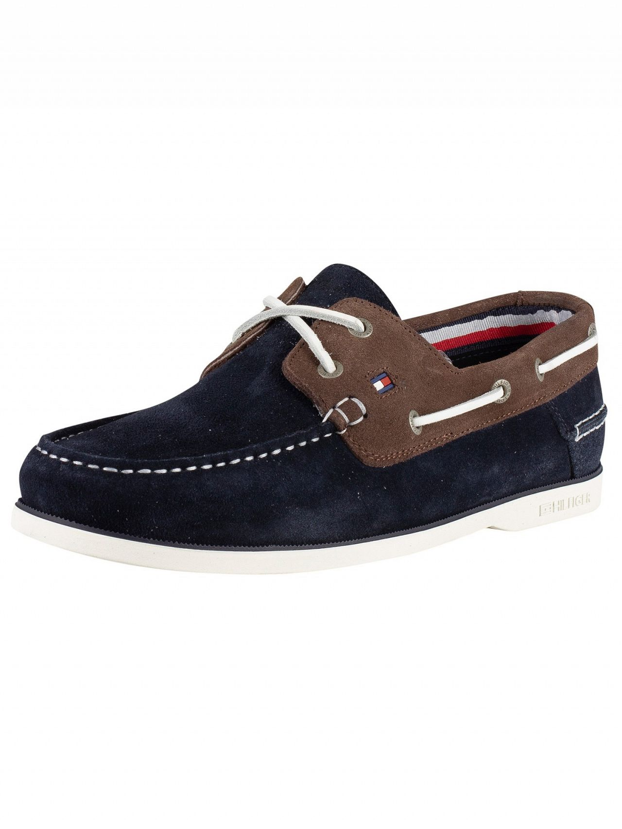 960740807 Tommy Hilfiger Midnight Coffee Bean Classic Suede Boat Shoes
