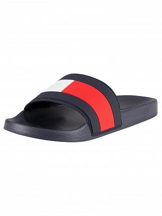 Tommy Hilfiger Red/White/Blue Essential Flag Pool Sliders