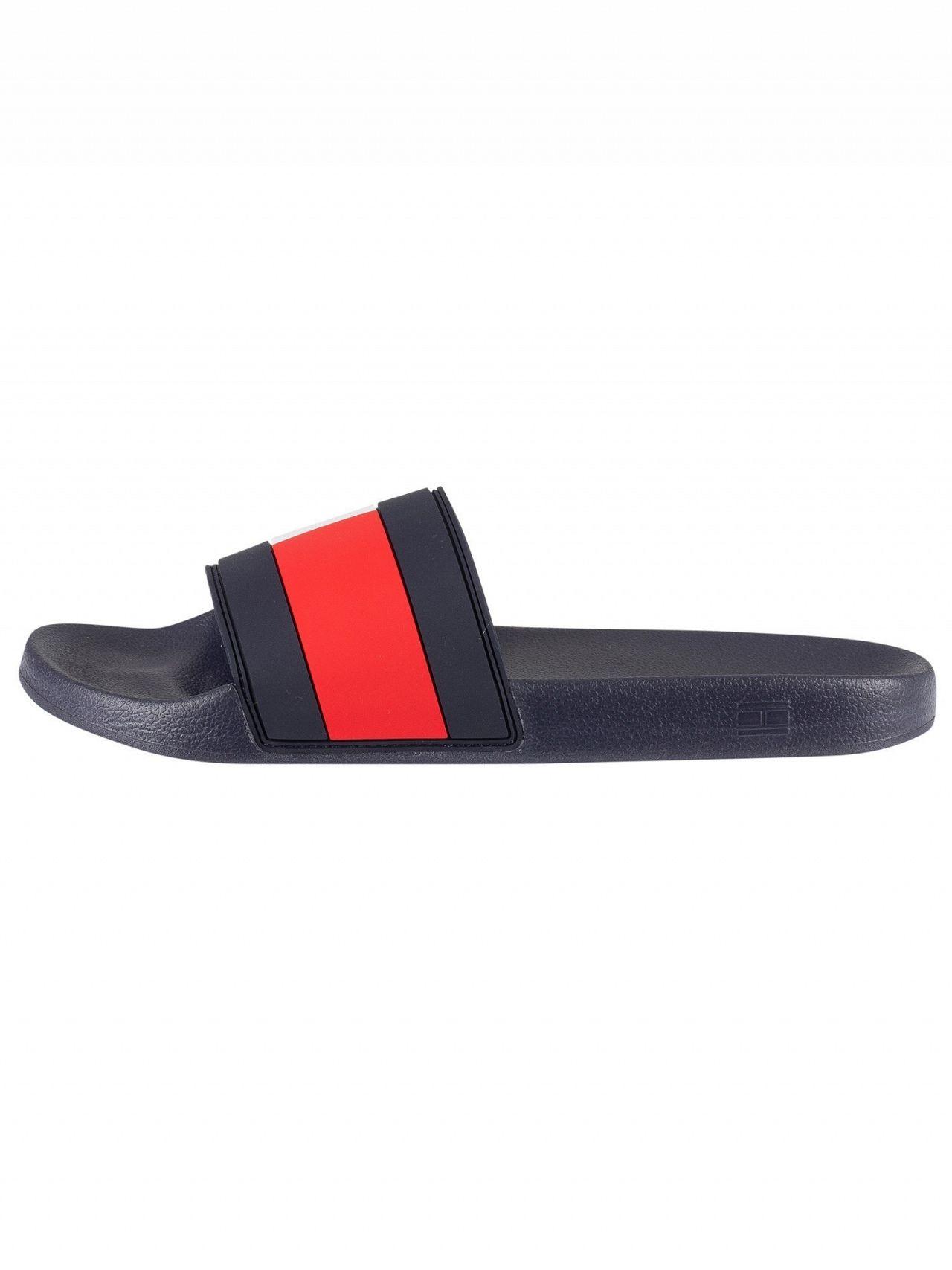 bb7b1476894b Tommy Hilfiger Red White Blue Essential Flag Pool Sliders