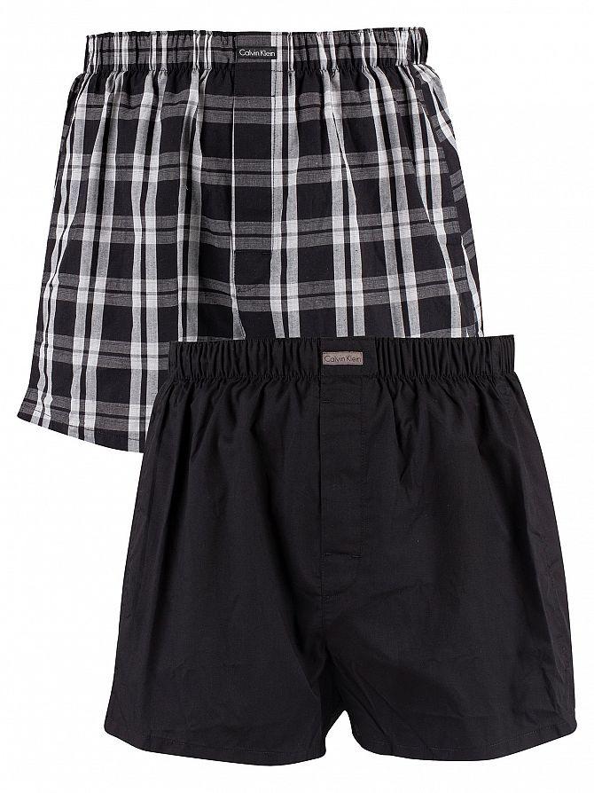 Calvin Klein Black/Morgan Plaid/Montague Stripe 3 Pack Woven Trunks