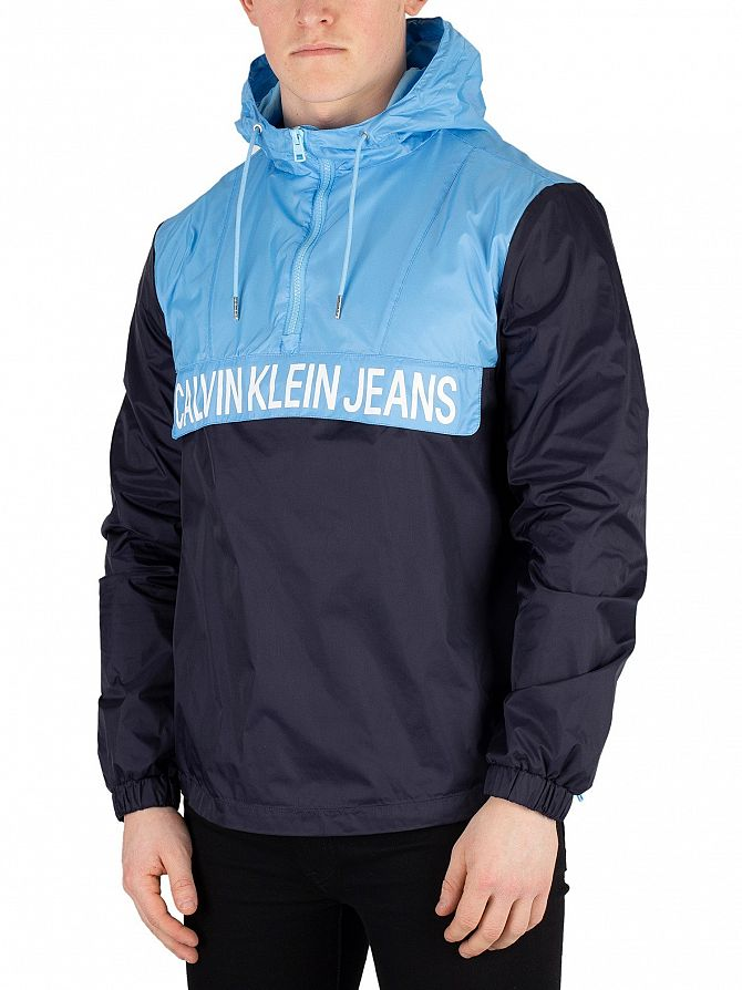 Calvin Klein Jeans Night Sky/Alaskan Blue Colour Block Nylon Pullover Jacket