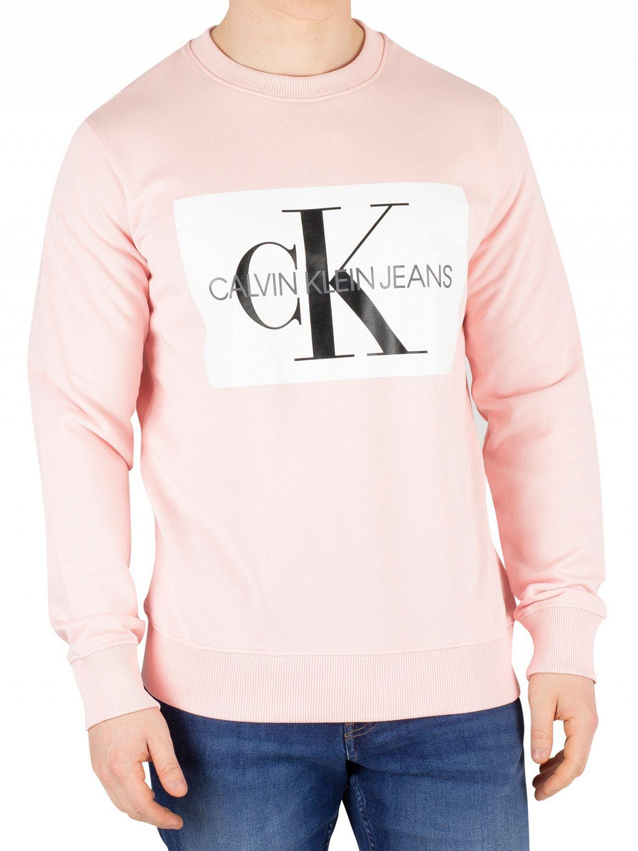 d9c03fc5 Calvin Klein Jeans Strawberry Cream Monogram Box Logo Sweatshirt ...