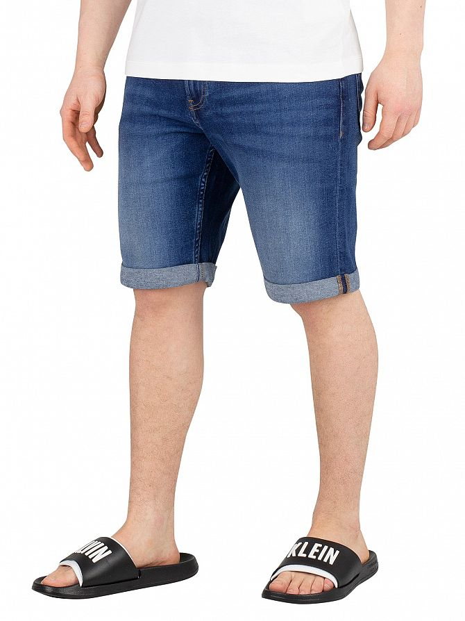 Calvin Klein Jeans Omega Blue Rolled Slim Denim Shorts
