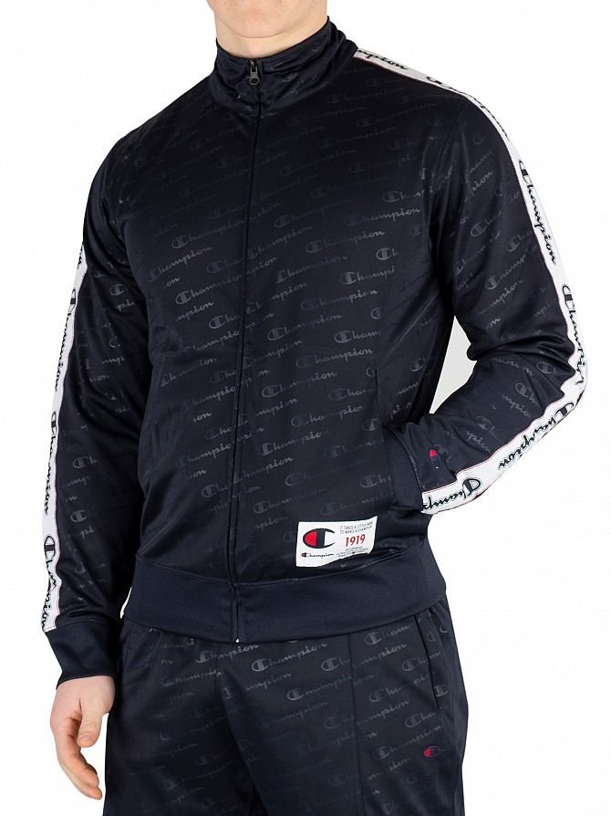 Champion Navy All Over Comfort Fit Track Top