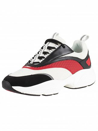 Ed Hardy Black/White/Red Scale Chunky Runner Trainers