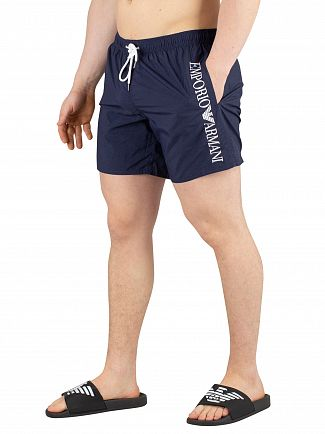 Emporio Armani Blue Navy Vertical Logo Swim Shorts