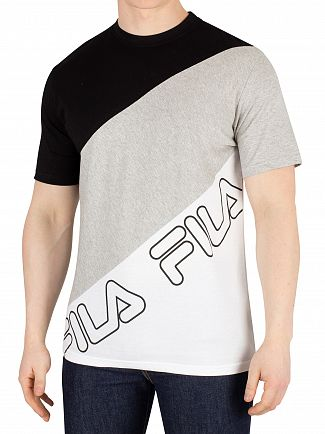 Fila Vintage Black/Light Grey Marl/White Grove Diagonal Block T-Shirt