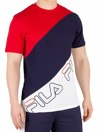 Fila Chinese Red/Peacoat/White Grove Diagonal Block T-Shirt