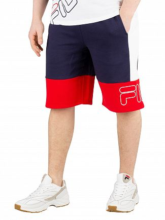 Fila Peacoat/Chinese Red/White Reiley Colour Block Shorts