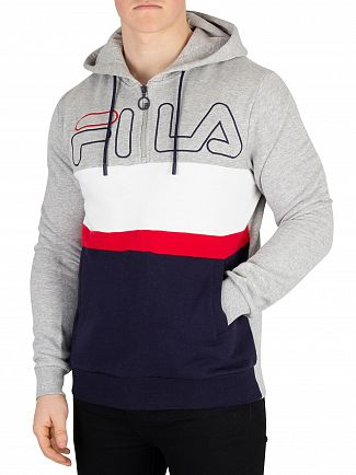 Fila Light Grey Marl Rumi Colour Block 1/4 Zip Hoodie