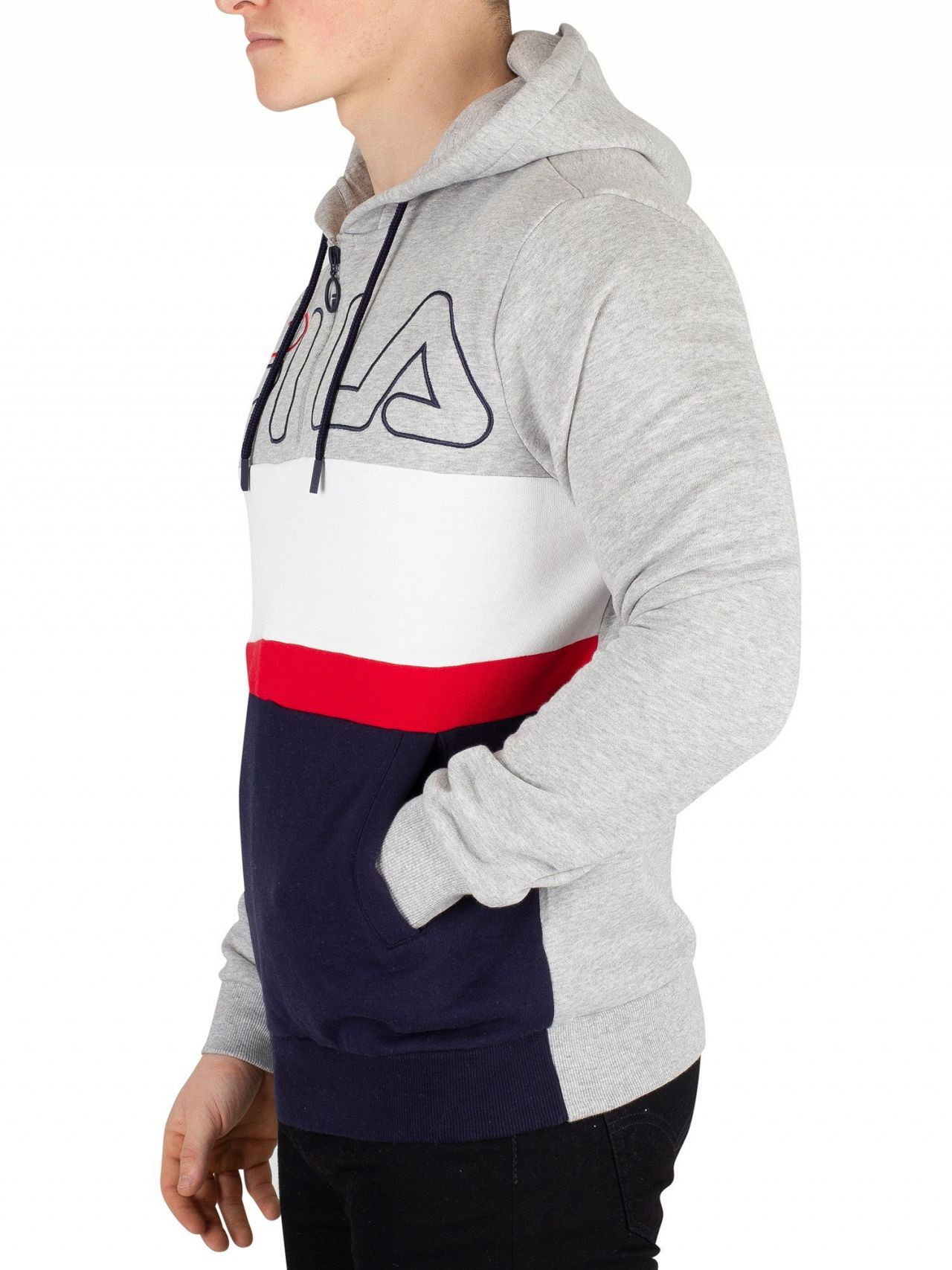 2066bc439f8a Fila Light Grey Marl Rumi Colour Block 1/4 Zip Hoodie | Standout