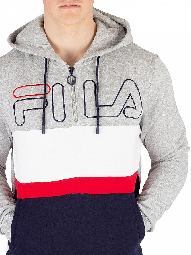 aeee1357c537 Fila Men's Rumi Colour Block 1/4 Zip Hoodie, Grey | eBay