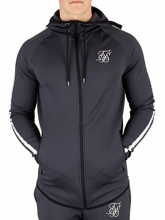 Sik Silk Anthracite Athlete Tech Tape Zip Hoodie