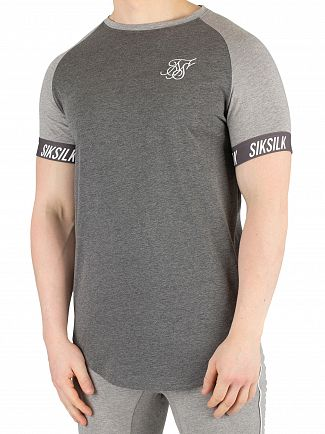 Sik Silk Grey/Dark Marl Contrast Tech T-Shirt