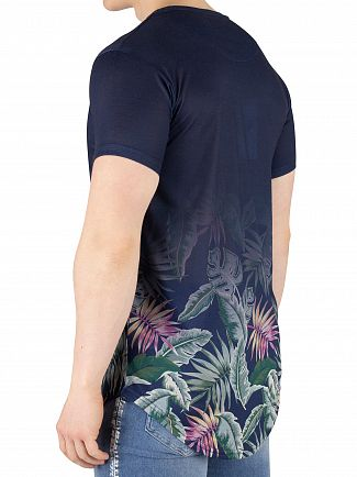 Sik Silk Navy Jeremy Vine Curved Hem T-Shirt
