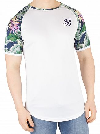 Sik Silk White Jeremy Vine Raglan Curved Hem T-Shirt