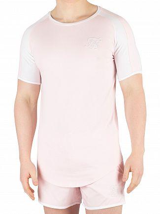 Sik Silk Peachy Pink/White Raglan Contrast Ringer Gym T-Shirt
