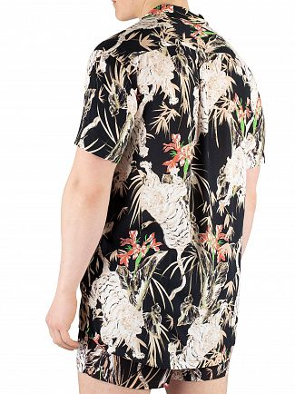 Sik Silk Black Resort Short Sleeve Floral Shirt