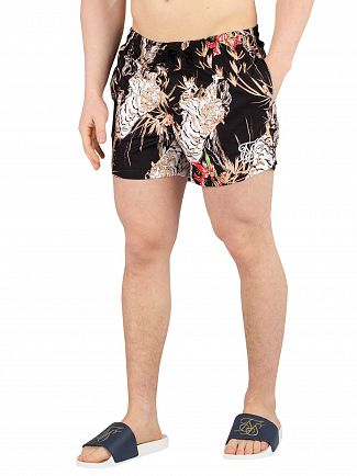 Sik Silk Black Standard Floral Swim Shorts
