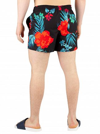 Sik Silk Black/Red/Teal Standard Hazy Daze Swim Shorts