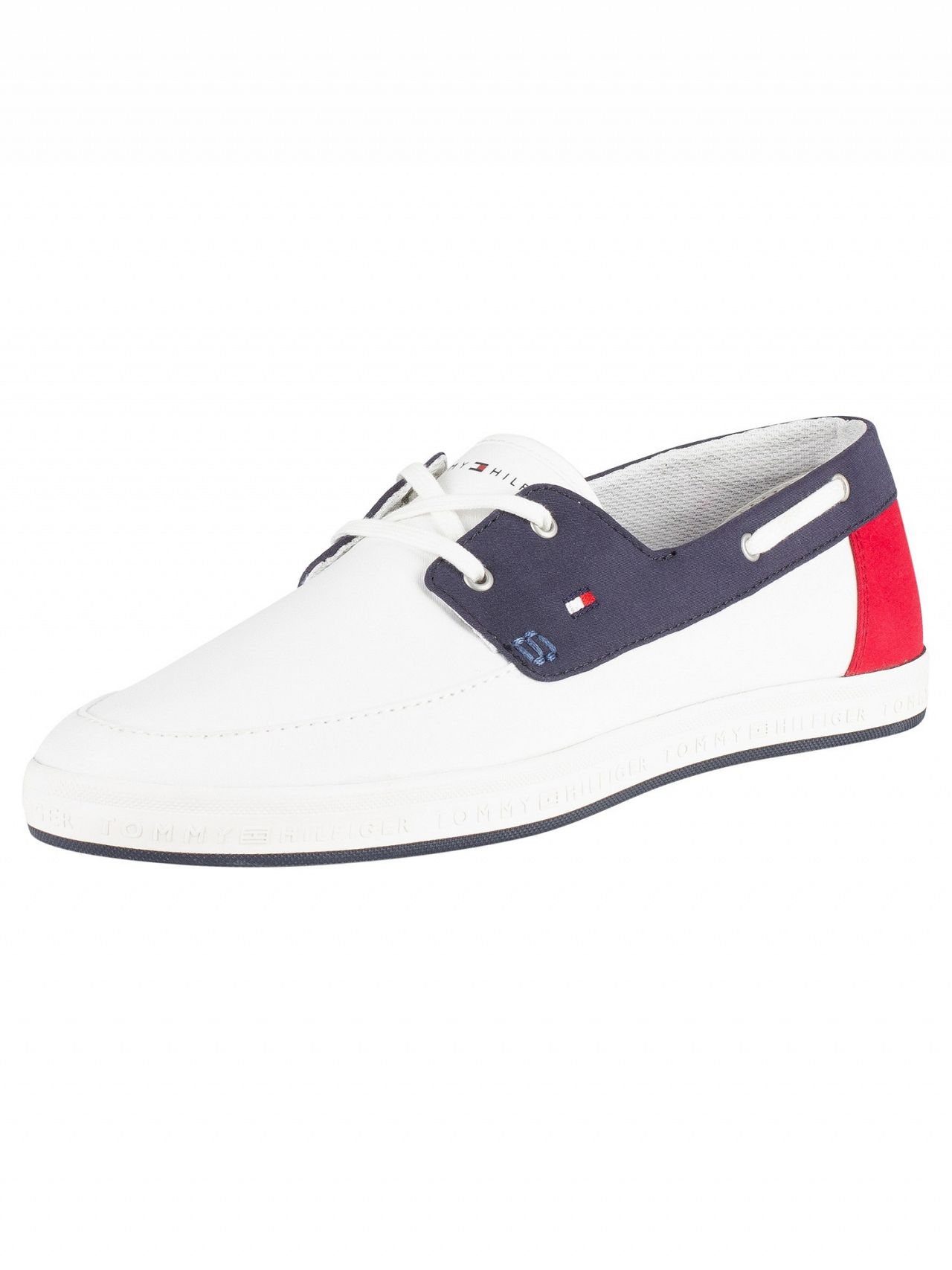 competitive price 67add 089b6 Tommy Hilfiger White Seasonal Core Boat Shoes