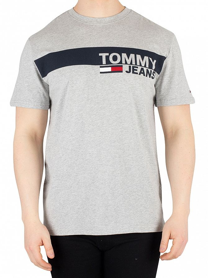 Tommy Jeans Light Grey Heather Essential Box Logo T-Shirt