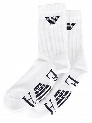 Emporio Armani White 2 Pack Calza Socks