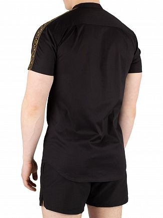 Sik Silk Black Cartel Short Sleeve Grandad Collar Shirt