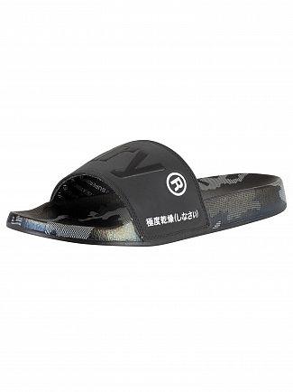 Superdry Black/Mono Camo AOP Beach Sliders