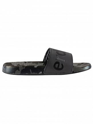 Superdry Black/Mono Camo AOP Beach Sliders