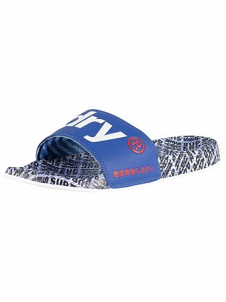 Superdry Cobalt/Optic White/Navy AOP Beach Sliders