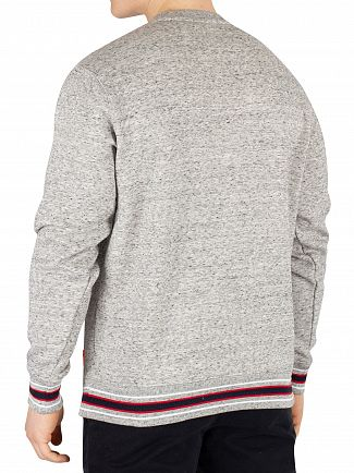Superdry Academy Smoke Grey Grit College Boxy Fit Applique Sweatshirt