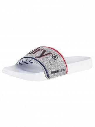 Superdry Optic White/Grey Grit/Red College Pool Slider