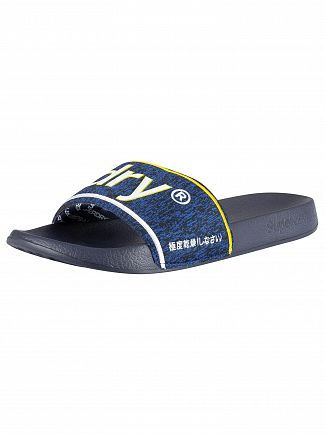 Superdry Dark Navy/Navy Grit College Pool Sliders