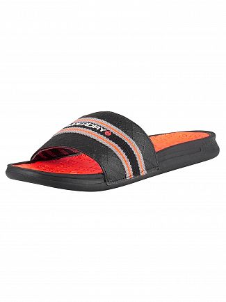 Superdry Black/Charcoal/Hazard Orange Crewe International Sliders