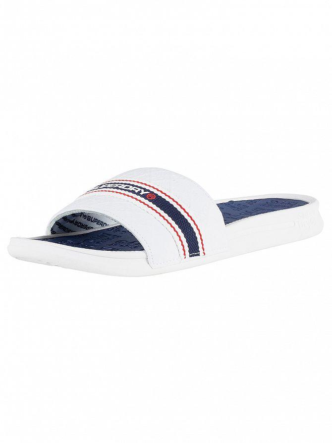 Superdry Off White/Navy Blue/Red Crewe International Sliders