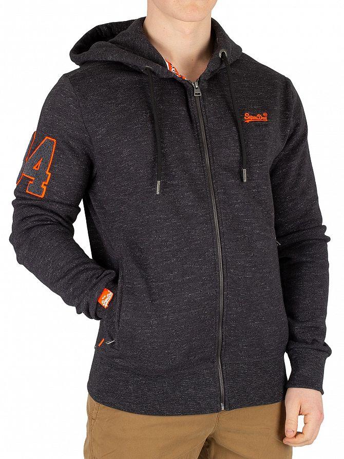Superdry Black Carbon Feeder Orange Label Field Zip Hoodie