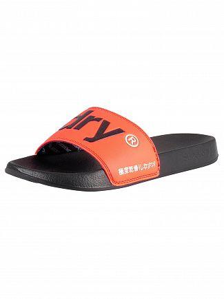 Superdry Black/Hazard Orange Pool Sliders