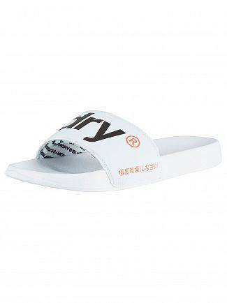 Superdry Optic White/Dark Navy Pool Sliders