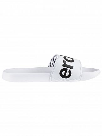 Superdry Optic White/Dark Navy Pool Sliders